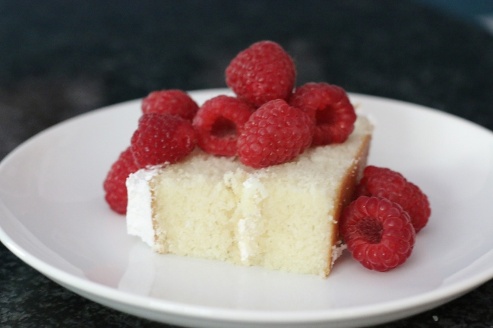 Perfect White Cake with Raspberries