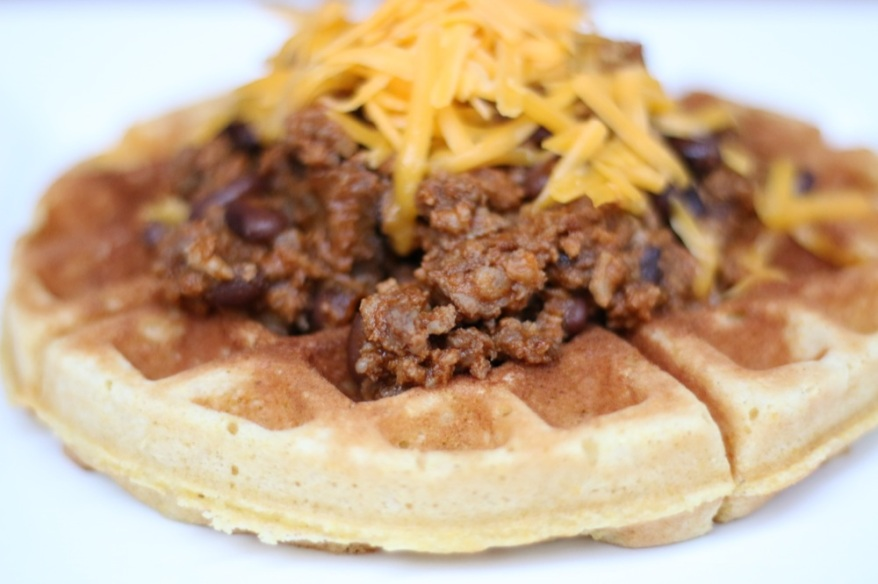 Cornbread Waffles with Chili
