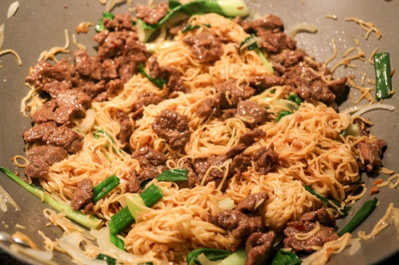 Chinese Egg Noodles with Beef and Bok Choy